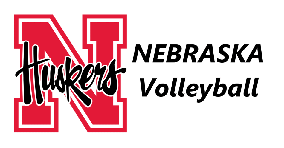 Husker Mascot logo on the left and the words Nebraska volleyball on the right.